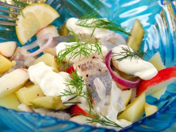 Light salted herring salad  with apple