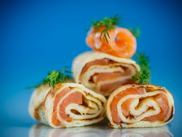 Pancakes roulade  with smoked trout