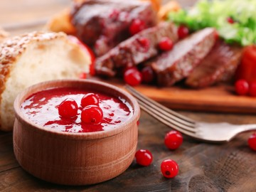 Venison  steak with red currant